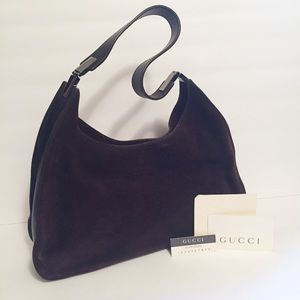 Gucci brown suede leather vintage hobo handbag